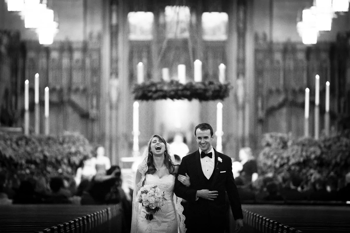 duke chapel wedding photojournalism recessional couple laughing