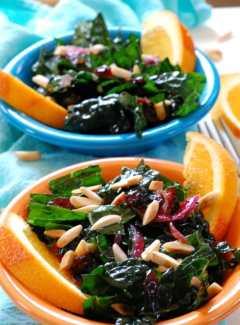 Kale Salad with Cranberry Orange Dressing