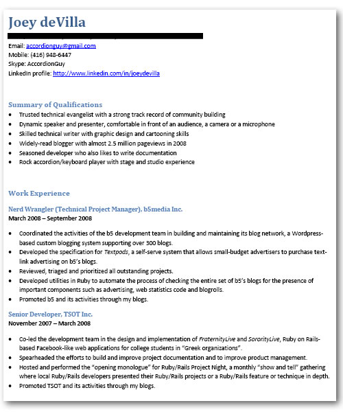 My \ - mobile resume