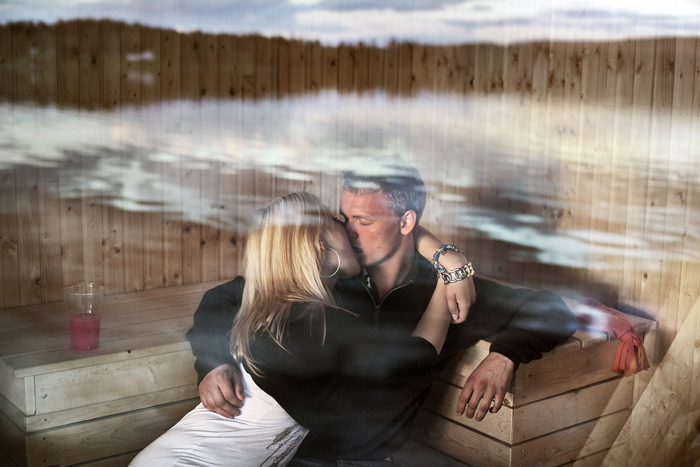 Midsummer night's dream, the sun seems to never disappear. It´s the brightest day of the year. Ragna Asjölander and Emil Karlsson has inaugurated there own carved sauna raft in Volgsjön.
