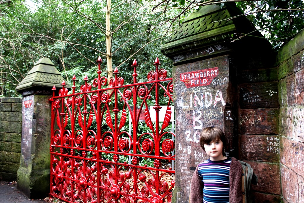 Eliott at Strawberry Field Liverpool