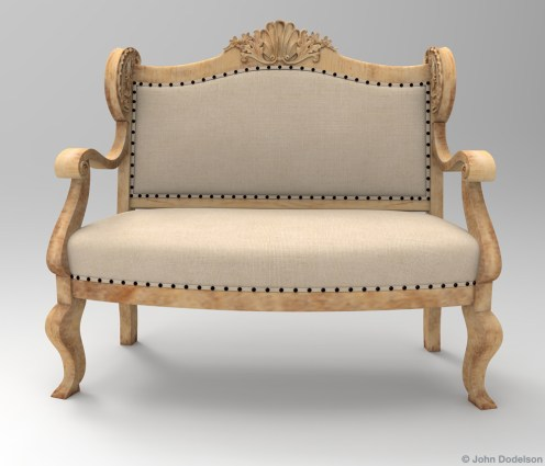 antique settee: Maya, ZBrush