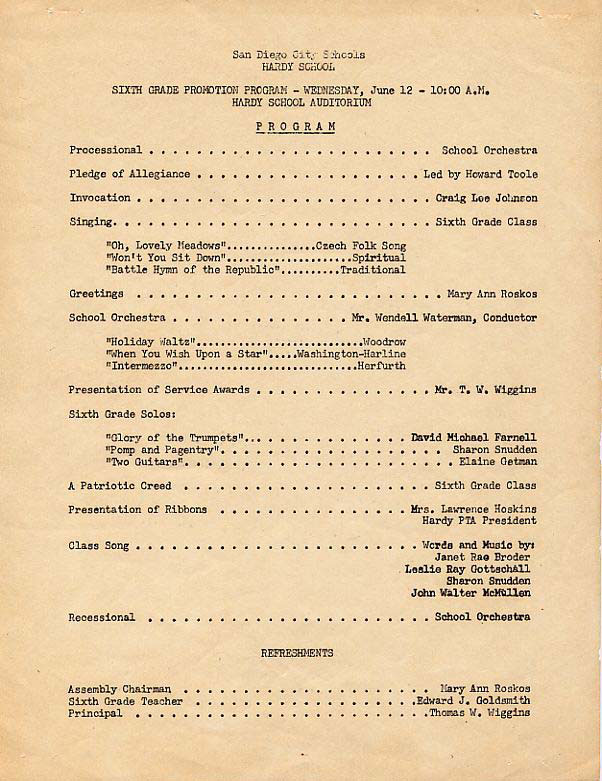 Hardy Elementary School Graduation Program June 1957