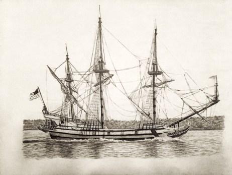 Kalmar Nyckel Drawing in Graphite