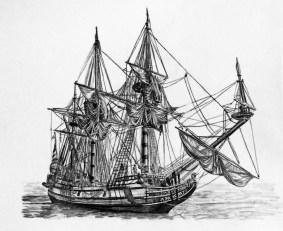 Kalmar Nyckel Drawing in Charcoal