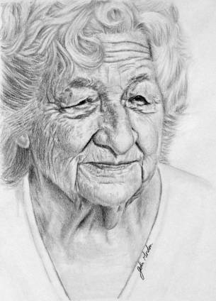 Grandma-Pencil-Portrait-Drawing-by-John-Gordon