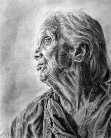 RedditGetsDrawn-Indian-Grandmother-Portrait--Drawing-by-John-Gordon