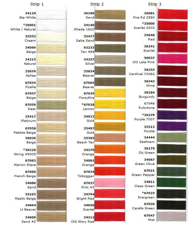 Anefil / Anecord Nylon Thread Color Chart \u2013 Plastic Buckles