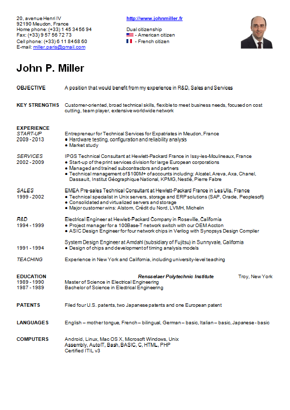 american english for cv resume