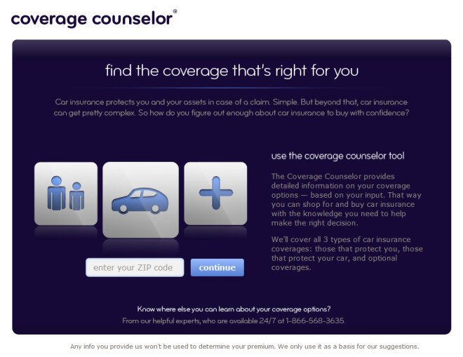 The Coverage Counselor's start page