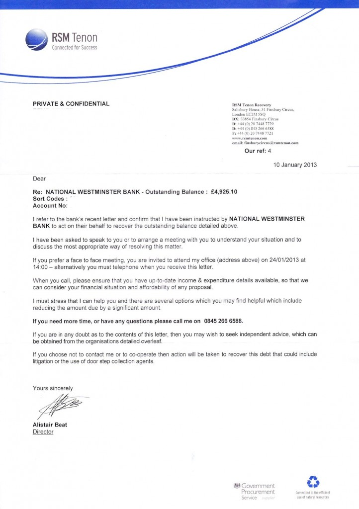 Debt Collection Letter - RSM Tenon