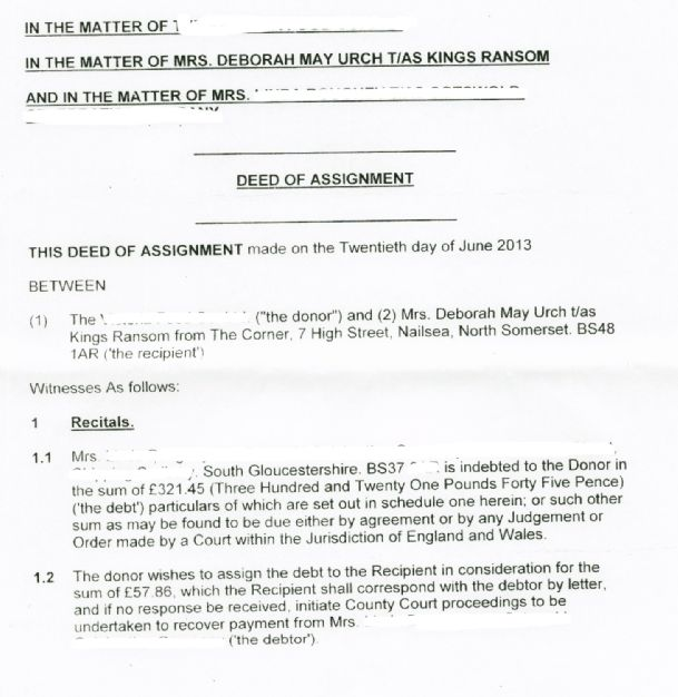 Debt and Deed of Assignment