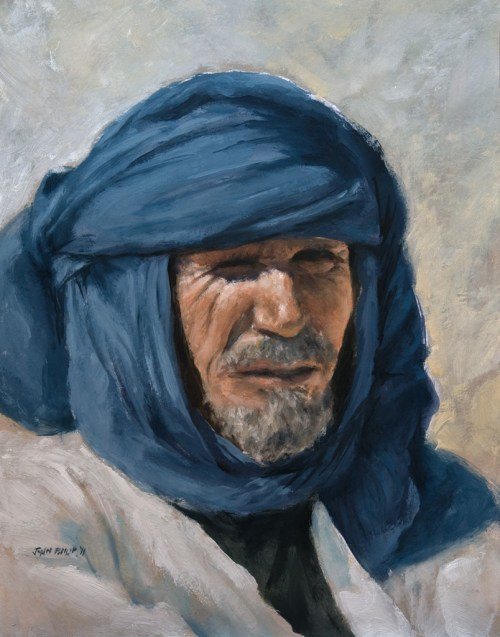 Oil painting of a Taureg man from Algeria