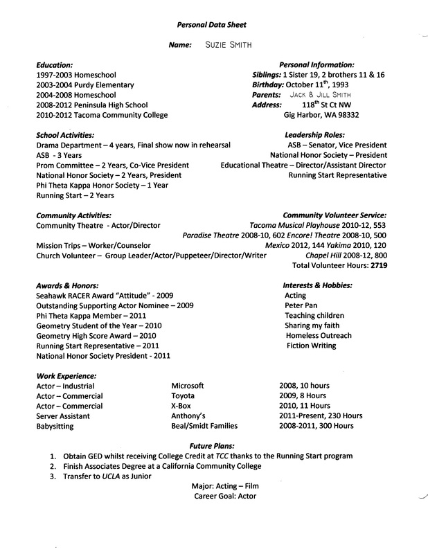Personal Data Sheet Example - JOHN\u0027S SCHOOL SITE