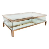 Rectangular brass, nickel and glass coffee table | Coffee ...