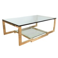 Rectangular brass and glass coffee table | Coffee Tables ...