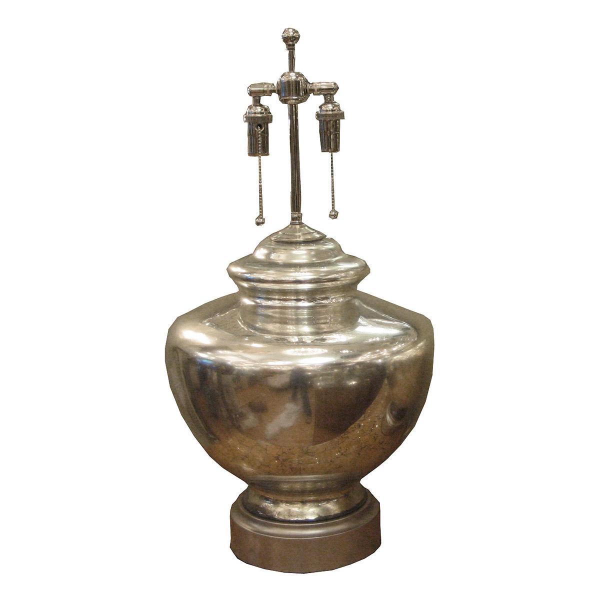 Single ginger jar form mercury glass table lamp.
