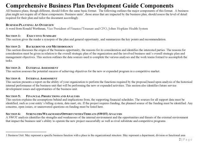 Business Plan Development - Johns Hopkins HealthCare Solutions