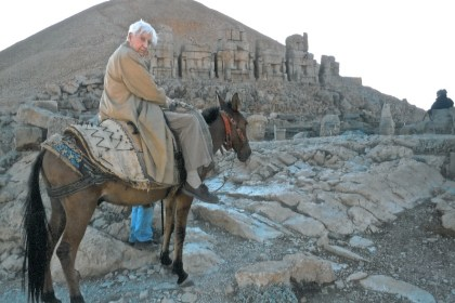 Author on donkey on Mount Nemrut