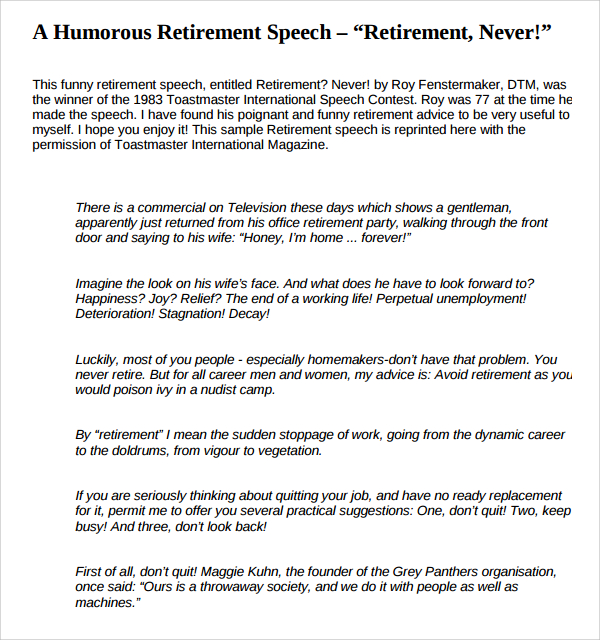 Retirement speeches Jokes - retirement speech example