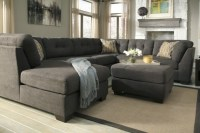 Contemporary Grey Tufted Sectional Sofa With Chaise Back ...