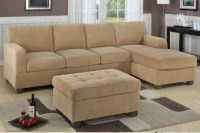 Grey Holland Fabric Tufted Sectional Sofa With Chaise ...