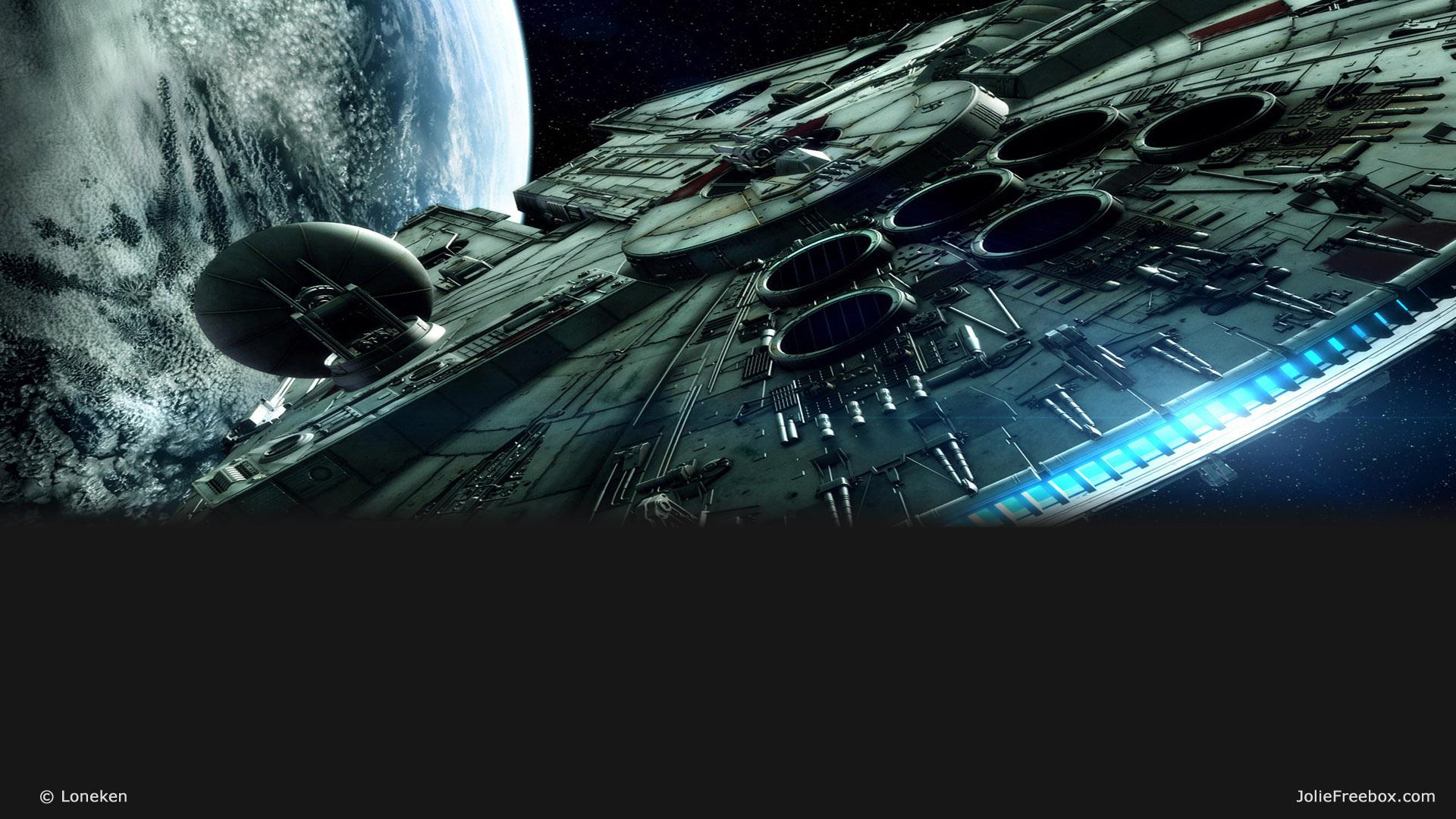 3d Star Wallpaper Le Millennium Falcon En Fond D 233 Cran De Votre Freebox