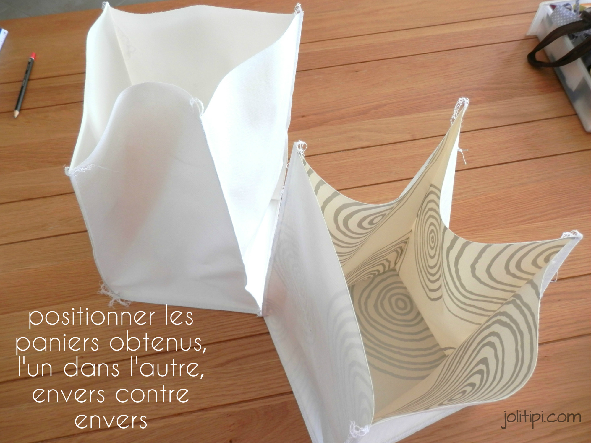 diy les paniers de rangement en tissu joli tipi. Black Bedroom Furniture Sets. Home Design Ideas