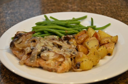 Paleo Chicken Gruyere with Sauteed Mushrooms