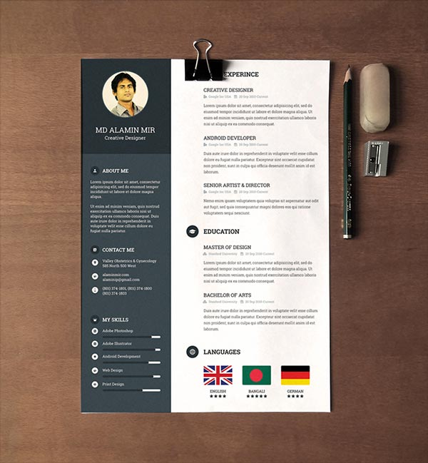 faire un cv sur adobe design