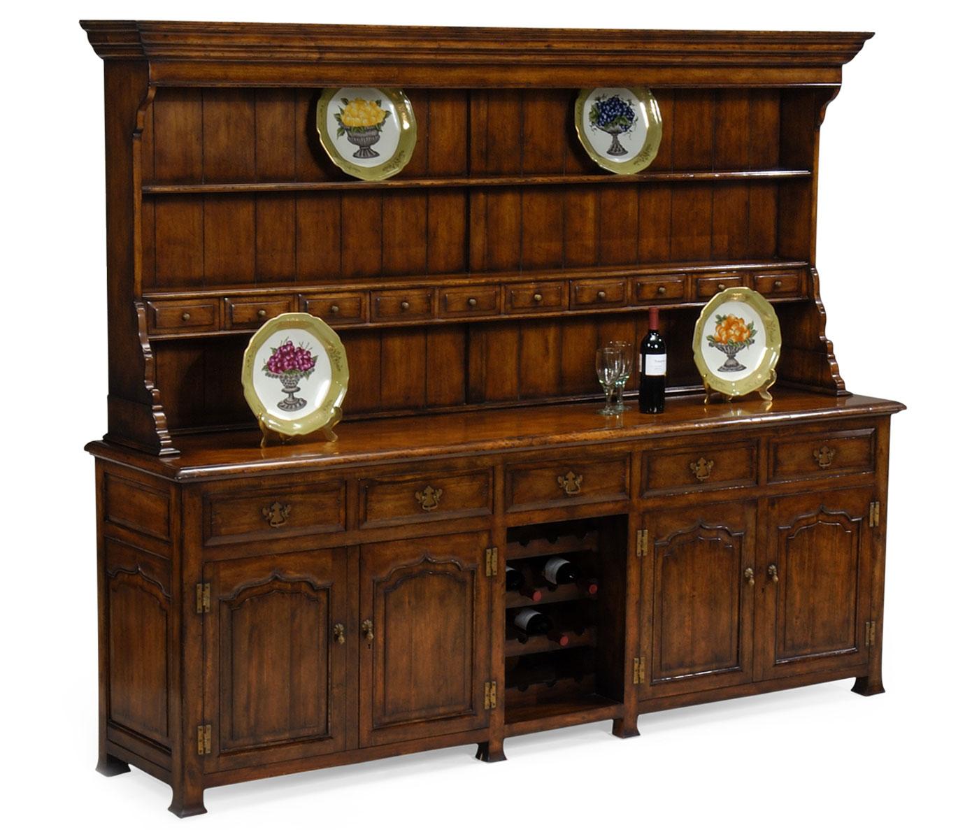 Large Walnut Welsh Dresser For Wine Rack