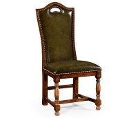 Walnut Dining Side Chair with Medium English Library Green ...