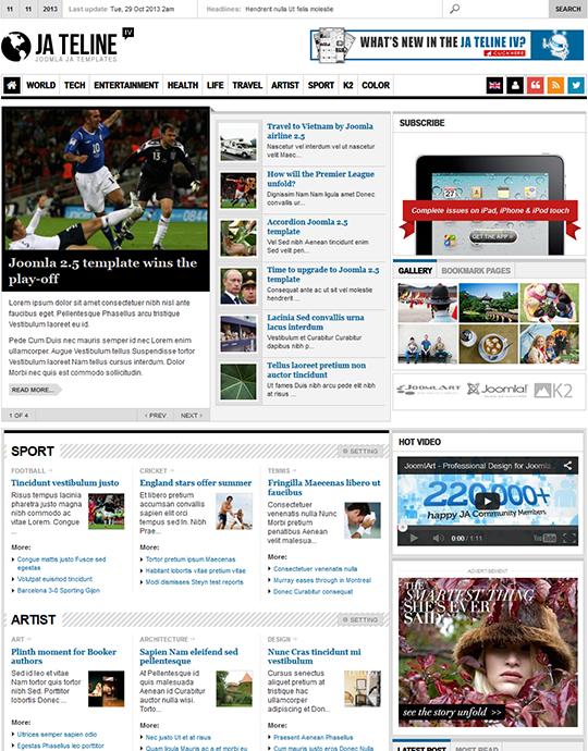 JA Teline IV - Joomla Magazine \/ News Template - supports K2 - online newspaper template