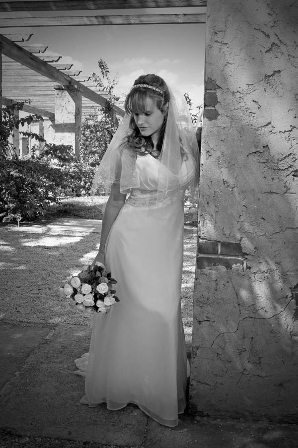 Photograph of a Bride with Flowers in Coral Gables