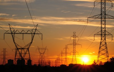 power transmission & Sunset