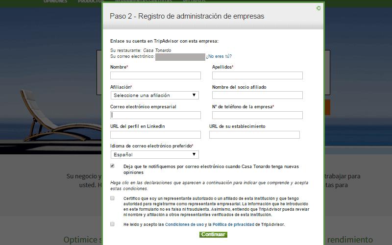 Registro administración empresas Tripadvisor