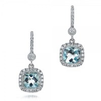 Aquamarine Drop Halo Earrings #100981