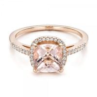 Custom Morganite and Diamond Halo Rose Gold Engagement ...