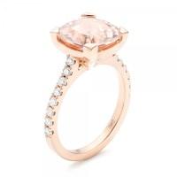 Custom Rose Gold Morganite and Diamond Engagement Ring #102933