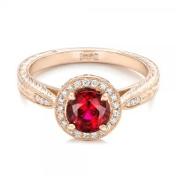 Custom Rose Gold Ruby and Diamond Engagement Ring #102453