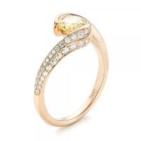 Custom Rose Gold Yellow and White Diamond Engagement Ring ...