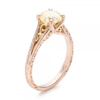Custom Rose Gold and Champagne Diamond Engagement Ring ...