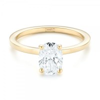 Custom Yellow Gold Solitaire Diamond Engagement RIng #102876