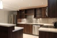 Modern Dark Brown Thermofoil Kitchen - Joseph Kitchen & Bath