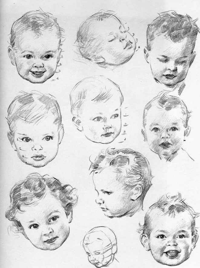 PLATE Construction of the baby head - Drawing the Head and Hands