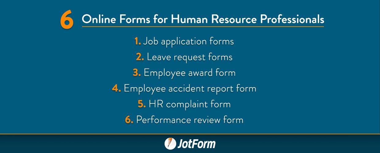 6 Online Forms for Human Resource Professionals The JotForm Blog - hr complaint form