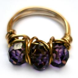 gold wire wrap ring jewelry purple cubic zirconia