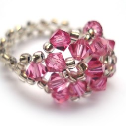 Hot Pink Swarovski Beaded Ring jewelry handmade