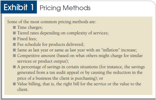 Pricing, billing and collecting fees
