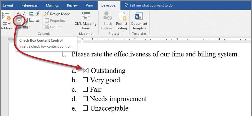 Microsoft Word Developing checklists in Word - Journal of Accountancy - Make A Survey In Word